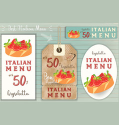 italian bruschtta stickers set vector image