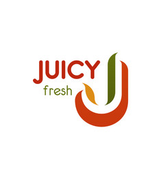 j letter icon for natural juicy product vector image