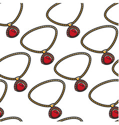 jewelry seamless pattern pendant ruby and gold vector image
