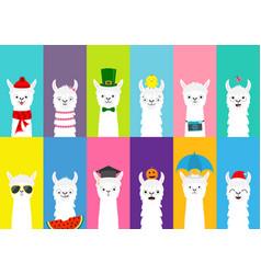 llama alpaca set cute funny cartoon lama vector image