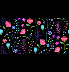 meadow flowers flat seamless pattern on vector image