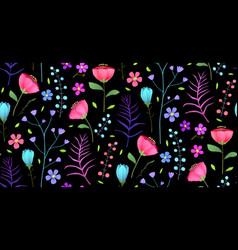 meadow flowers flat seamless pattern vector image