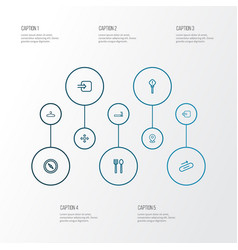 Navigation icons line style set with way out vector