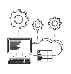 Outline computer programming code and cloud data vector