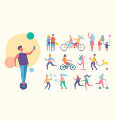 people doing sport active vector image