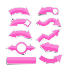 pink paper arrow stickers with shadows vector image