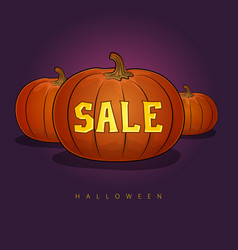 poster with pumpkins and halloween sale vector image