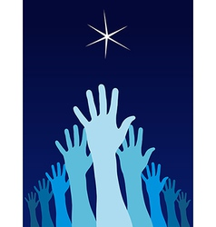 Raised hands trying to reach a star vector