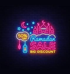 ramadan kareem sale offer neon ramadan holiday vector image