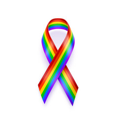realistic lgbt ribbon rainbow ribbon lgbt support vector image