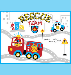 Rescue team cartoon with funny firefighter vector