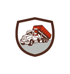 Roll-Off Bin Truck Driver Thumbs Up Shield Cartoon vector