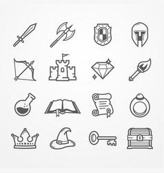 Rpg pc game line icons vector