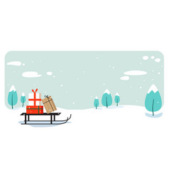 santa claus sleigh with present box merry vector image