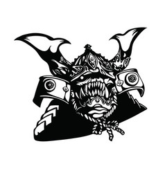 Scary monster wearing ancient japanese warrior vector