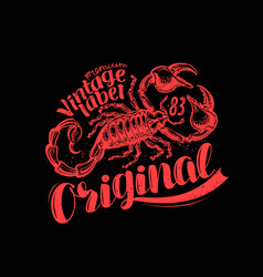 scorpion label t-shirt design vintage animal vector image