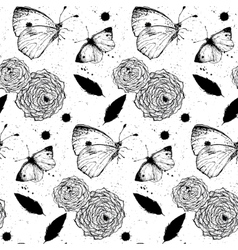Seamless grunge texture with roses and butterflies vector image