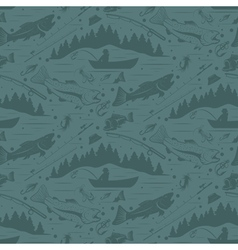 Seamless pattern for fishing theme With vector