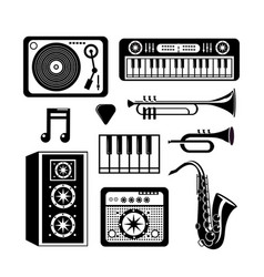 set music festival with professional instruments vector image