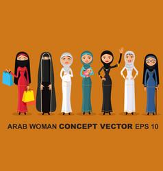 Set of different standing arab women vector