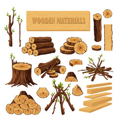 Set of firewood materials for lumber industry vector
