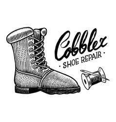 shoe repair concept cobbler or shoemaker vector image
