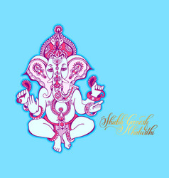 shubh ganesh chaturthi greeting card to indian vector image