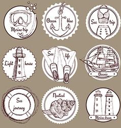 Sketch nautical logos vector image