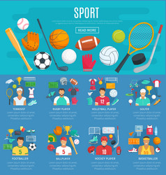 sport game poster template with sporting equipment vector image