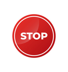 stop sign isolated on pure white with glossy vector image