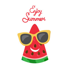 summertime poster with watermelon slice vector image