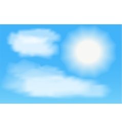 Sun with clouds in thr blue sky vector