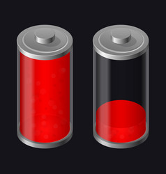Transparent glass battery low charging red color vector