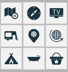 trip icons set with map with time compass tent vector image