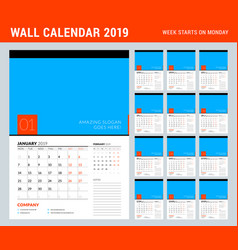 wall calendar planner template for 2019 year set vector image