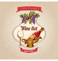 Wine list retro poster vector image