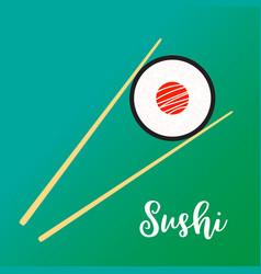 wooden chopsticks holding sushi vector image