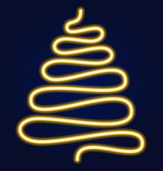 yellow neon style christmas tree glowing xmas vector image