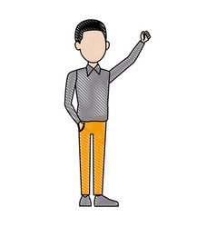 Young businessman standing with folded arms suit vector