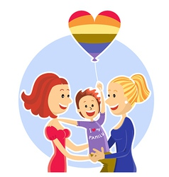 Young lesbian couple family with son vector