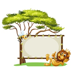 A king lion beside a blank advert space vector image vector image