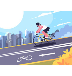cyclist on track for cyclists vector image vector image