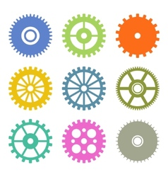 Gear Icons Set in Flat Design colors vector image