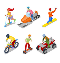 people on snowboard atv and motorcycle vector image