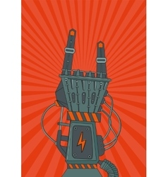 Robot rock Retro music poster with metallic robot vector image vector image