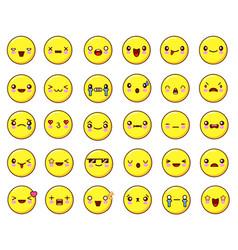 big emotional face icons set kawaiiflat design vector image vector image