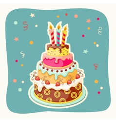 cartoon card with cake tier vector image