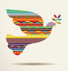 Christmas peace dove art design in fun colors vector image vector image