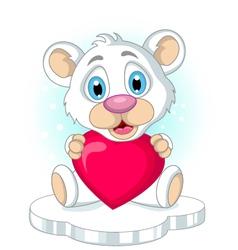 cute little polar bear cartoon holding heart love vector image vector image