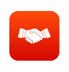 handshake icon digital red vector image vector image